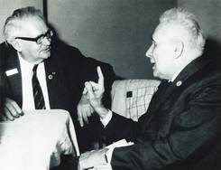 Volbach (on the left) in discussion with Prof. Dr. Victor Lazareff at the International Byzantine Congress 1971 at Bucarest.